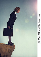 businesswoman on the edge - businesswoman standing on the ...
