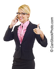 businesswoman on the phone making her ok sign