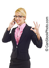 businesswoman on the phone winning