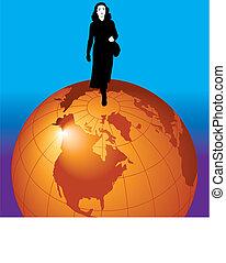 businesswoman on  the world