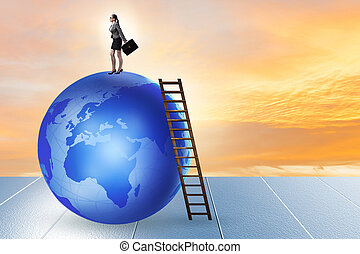 Businesswoman on top of the world