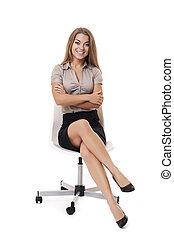 Businesswoman on white chair
