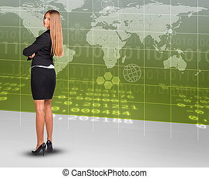 Businesswoman on world map background