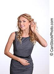 businesswoman, oor, luisteren, hand