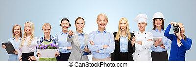 businesswoman, op, vrolijke , werkmannen , professioneel