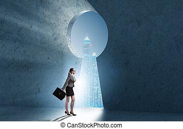 Businesswoman opening new door to success