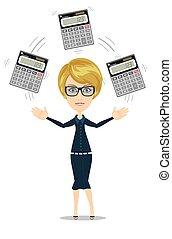 accountant juggling a calculators in his hands