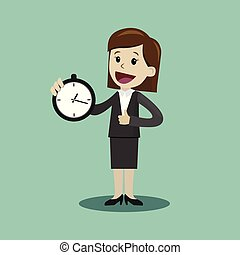 Businesswoman or manager hold clock and takes control on his...