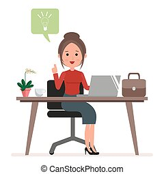 Businesswoman or secretary works at the computer. A woman has a new idea or inspiration. Flat character isolated on white background. Vector, illustration EPS10.