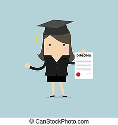 Businesswoman or student with a diploma of completion education.