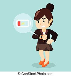 businesswoman panic smartwatch low battery