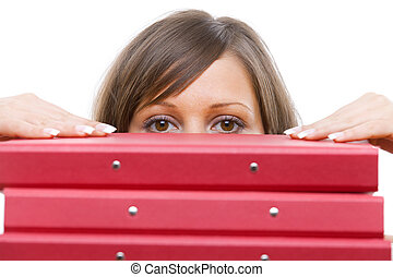 Businesswoman peeking