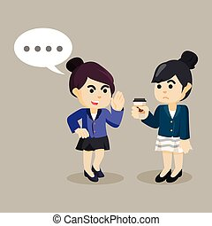 businesswoman persuade her friend to gossip