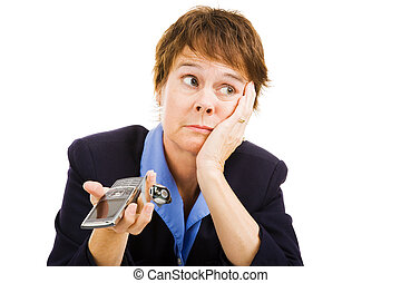 Businesswoman - Phone Not Ringing - Businesswoman worried...