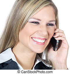 businesswoman phoning and laughs