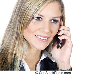 businesswoman phoning and smiles
