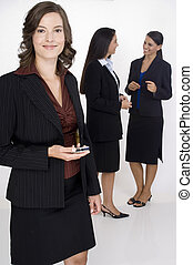 Businesswoman - A young attractive businesswoman standing in...