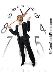 businesswoman - business woman standing with clock in...
