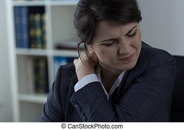 businesswoman, pijn, hebben, back