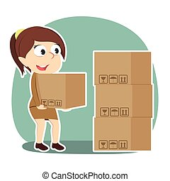 Businesswoman pile up boxes