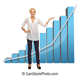 businesswoman pointing at big 3d chart