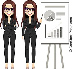Businesswoman Pointing Chart