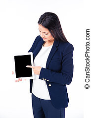 Businesswoman pointing finger on tablet computer screen