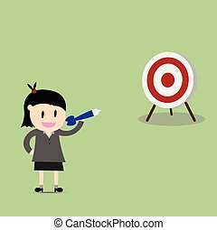 businesswoman pointing in a target board. Concept of achievement of business goal. Vector flat design illustration
