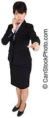Businesswoman pointing
