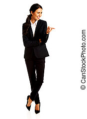 Businesswoman pointing to the right side