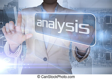 Businesswoman pointing to the word analysis