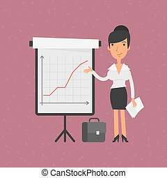 Businesswoman points on flip-chart with graph