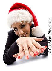 businesswoman posing with christmas hat