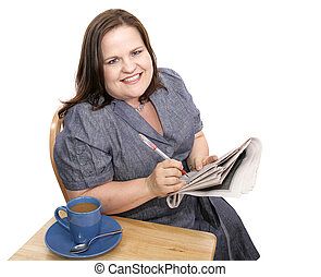 Businesswoman - Positive Job Hunt - Pretty plus-sized...