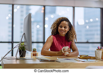 Portrait of young businesswoman present her work at a business meeting in the office