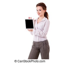 Businesswoman presenting a digital tablet isolated on white