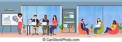 businesswoman presenting financial graph on flip chart to mix race businesspeople team at conference meeting presentation concept modern co-working area office interior full length horizontal vector illustration