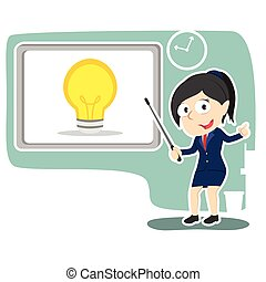 Businesswoman presenting idea vector illustration