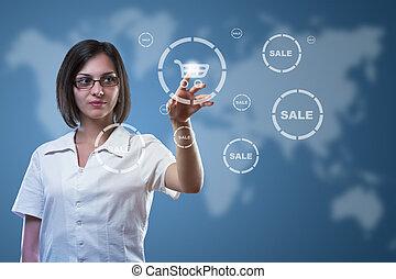 Businesswoman pressing cart button