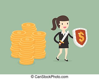 Businesswoman Protecting Money With Shield And Sword.