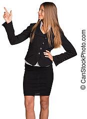 businesswoman, pulken pointing, haar, omhoog
