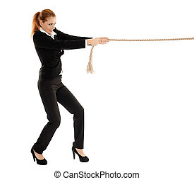 Businesswoman pulling a rope - Full length portrait of a...