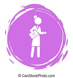 Businesswoman purple cirlce portrait, stamp style, businessperson with documents, woman with report, folder in hands, avatar, logo, wearing office suit dress, keeping dresscode, anonymous lady