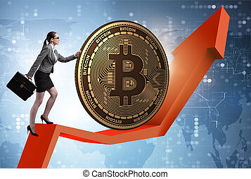 Businesswoman pushing bitcoin in cryptocurrency blockchain conce