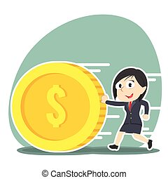businesswoman pushing coin illustration design