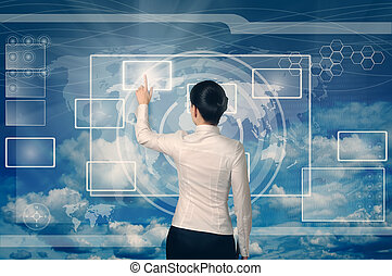 business woman pushing virtual button in web interface with her finger over blue sky