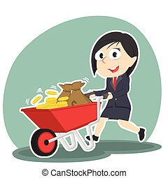 businesswoman pushing wheelbarrow full of coins