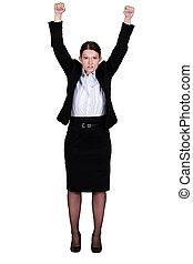 businesswoman raising her hands