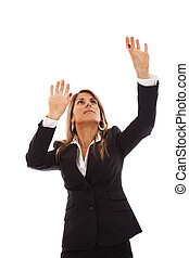 Businesswoman reaching something