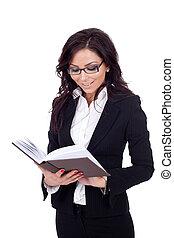 businesswoman reading a book,